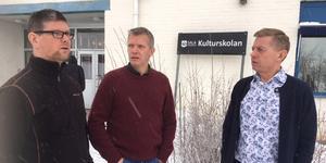 Jens Ander Glöde, Ronny Jansson och Mikael Nyvelius såg fram emot en blomstrande Kulturskola i nya fina lokaler. Nu kan dock stora delar av verksamheten försvinna om Kulturskolan måste spara tre miljoner. Ett beslut tas av skolnämnden på tisdag i nästa vecka.