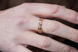Frimurarringen får bäras av frimurare som har nått åttonde graden. Den bärs på höger hands långfinger.