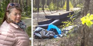 Berit Larssons make Lars-Göran Larsson äger mark i Frölunda/Fullbro. Runt om i skogarna dumpas skräp hela tiden.