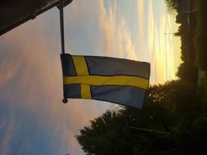 Tog den här bilden för att jag tyckte att flaggan blev så otroligt fin mot himlen. Foto: Emma Andersson