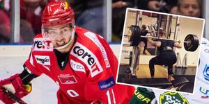 Johan Forsberg befann sig i gymmet kort efter lördagens vinst hemma mot Björklöven. Bild: Erik Mårtensson/Bildbyrån och Urban Omark
