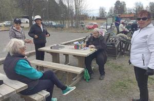 En kvintett vid borden när resultaten räknades ihop för Inger Jonsson, Gertrude Nilsson, Marie Gidlund, Solbritt Eidenby och Britt-Marie Ekberg. Foto: Per Söderberg