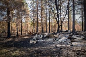 Jaktstugorna var nedbrända till grunden.