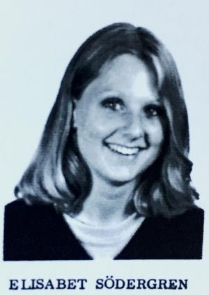 Elisabet Frerot Södergren, journalist, programledare och utrikeskorrespondent, klass S1B, Risbergska skolan, läsåret 1980/81.