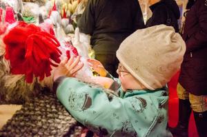 Kelvin Malm, 6 år, känner på mjuka fårskinnstomtar.