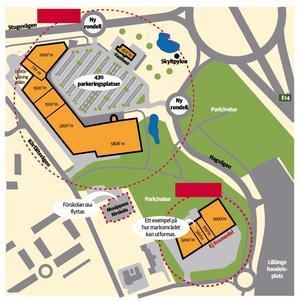 De framtida planerna för Lillänge inkluderar ett köpcentrum på betongstationsområdet, överst i bild, och ett mindre köpcentrum i skogsområdet.