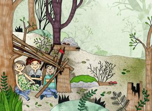 I Sverige har Khalil fått de nya kompisarna Lovisa och Agnes, men han saknar sin mormor som är kvar i hemlandet Syrien. Illustration av Hedvig Wallin.