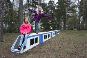 Tallbackaskolans pendeltåg har de rätta färgerna, precis som SL:s. Så ska Vanstaskolans tåg också se ut. Foto: Robert Lättman-Masch