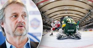 Till vänster: Allsvenskans ligachef Sonny Lundwall. Bild: Johanna Lundberg. Till höger: En match mellan Vita Hästen och Björklöven. Bild: Johan Löf.