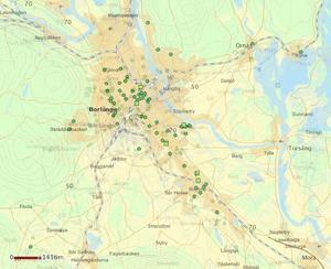 Anmälningar av inbrott i fordon mellan 2017 och 2019. En ökning från 78 anmälningar per år till 90. Som kartorna visar sker inbrotten mestadels i centrala Borlänge. Foto: Polisen.