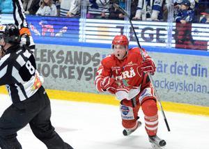 Jonathan Dahlén jublar efter ett av sina mål mot Leksand 6 mars 2016.