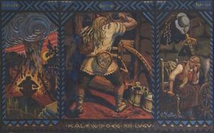 Kalevipoeg nere i helvetet. Målning av Oskar Kallis från 1915.