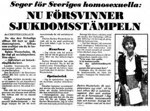 Expressen den 1 september 1979. Barbro Westerholm, då ny chef på Socialstyrelsen, beslöt sig för att ta bort homosexualitet som en sjukdomsbeteckning. Bild: Arkiv