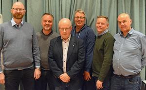 IK Brages styrelse. Fr. v: Göran Olsson, Anders Karlin, Ulf Aronsson, Per Amund Ruth, Magnus Landström, Leif Solum. På bilden saknas Tarek Malak.