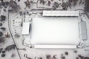 Så här såg det ut över Stadsparksvallen i början av mars.