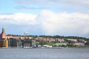 Storsjö strand sett från Frösön. Etapp två ska ta vid österut där etapp 1 slutar.