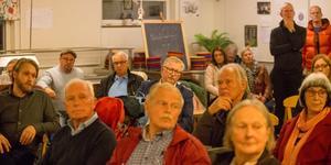 Lars Greger (MP), längst till vänster, och Tage Gripenstam (C), i mitten med glasögon, kom på mötet.