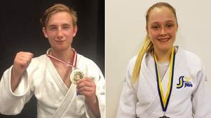 Noel Lagnelius blev nordisk mästare i judo och lagkompisen Agnes Eriksson blev femma med en skadad fot – och tog sedan revansch med att vinna SM-silver. Foto: Privat.