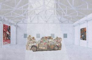 En av utställningssalarna i den idé till konsthall som Paulina Jaén Nilsson skissat på i Sundsvall.