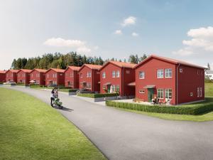 14 villor i kedjehusformat planeras på Sara Lisas väg i Lilla Källviken. Illustration: OBOS Sverige.