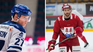 Anton Karlsson, Leksand, missar fredagens match där Timrå IK:s Michael Parks däremot är tillbaka. Foto: Simon Hastegård/bildbyrån och Eric Westlund/ST arkiv.
