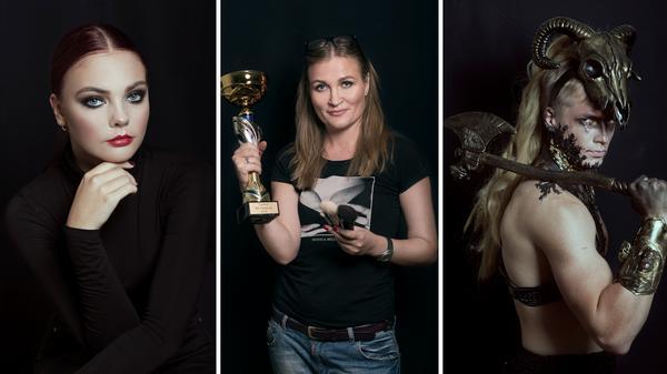"""Anna Alyaksina (mitten), make up-artist från Södertälje,  tog hem första pris i make up-SM i fredags. I tävlingen skulle deltagarna göra en klassisk sminkning och en make up efter temat """"Welcome to Valhalla""""."""