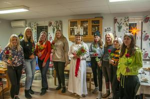 Irma Toresson, Ami Eriksson, Moa Nordlund, Ella Olovsson, Ina Andersson, Emma Kjellin, Ida Rådlund, Anna Bekkos och Alma Byström är laddade för att lussa.