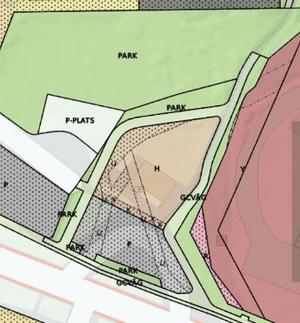 """Abdulkerim Kizil blir ägare av både parkeringsplatsen framför kiosken och ett område bakom kiosken. Enligt avtalet med kommunen måste han sätta upp """"permanenta hinder"""" så bilar inte kan köra in på cykelvägarna. Skiss: Ludvika kommun"""