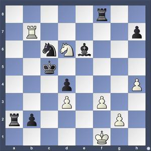 Lösning: 1.Se4+ Kd5 2.Tb5