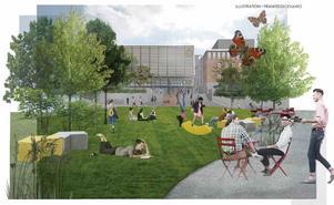 Så här hoppas kommunen att det ser ut i Campusparken i framtiden, att det har blivit en naturlig samlingsplats för studenter och boende i närheten, kanske även för Södertäljebor som går förbi.