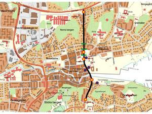 Hela Roslagsgatan/Bergsgatan är avstängd mellan Vätövägen och Gustaf Adolfs väg från lördag klockan 06. Karta: Norrtälje Kommun