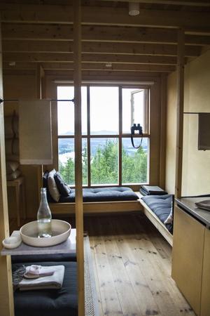 I lofthusets 14 kvadratmeter stora rum talar naturmaterialet för sig själv med ljusa trädetaljer i fokus.