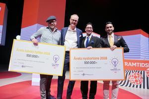 """Anders Åkerberg (till vänster), Kulinariet och Skedvi Bröd, är vinnare av ICA:s Entreprenörspris i kategorin """"årets lokala hjälte"""". I kategorin """"Årets nystartare"""" vann bröderna Max och Allen Mohammadi (till höger) som startat ehälsaföretaget Hippogriff."""