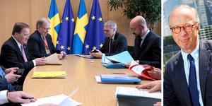 Gunnar Hökmark, längst till höger, skriver om beskattningsrätt för EU. Sveriges statsminister Stefan Löfven, till vänster, i möte med  Europeiska rådets president Charles Michel, till höger vid mötet om EU:s budget  i Bryssel  den 20 februari. Foto: Virginia Mayo