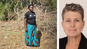Filta Natala i byn Hufwa i södra Zambia är en av miljontals kvinnor som är drabbade av svår torka. Hon är själv övertygad om att det är klimatförändringarna som är orsaken. We Effects generalsekreterare  Anna Tibblin skriver.  Foto: Ola Richardsson/We Effect