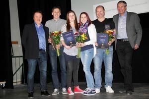 Ordförande Nordanstigsföretagarna Per-Ola Wadin och ledningsutskottets ordförande Stig Eng, (C), flankerar Sven-Olov Bergman, Tove Filin, Ann-Sofie Lundmark och Bernt Johnsson.
