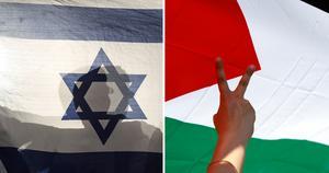 Israelisk och palestinsk flagga.