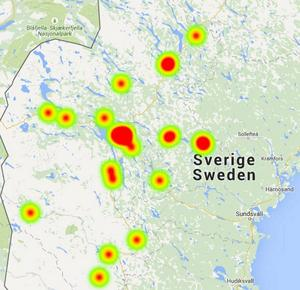 Här har inbrotten skett i Jämlands län under 2015.