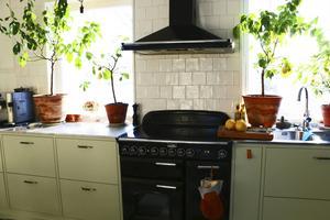 I det stora, ljusa och rustika köket gör Annika i ordning maten som Hildegard rekommenderar.