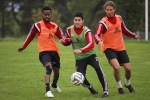 Ammar Ahmed, Lopez och Jonathan Azulay under träningen.
