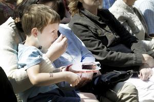 SMASKIGT. Att äta kaka är ett sätt att fira Sverige det med, tyckte fyraåriga Hugo Persson från Gävle.