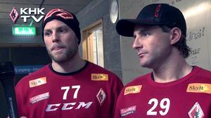 Patrik (till höger) intervjuas av Karlskrona HK:s hemsida under säsongen 2001/2012.