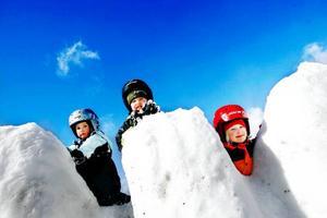 """Syskonen Forss har mycket lek i benen. """"Kurragömma är det roligaste. Det är så lätt att gömma sig"""", säger storebror Jacob, 7, i mitten. Han flankeras av lillebror Aaron, 3, och lillasyster Heidi, 6.Foto: Henrik Flygare"""