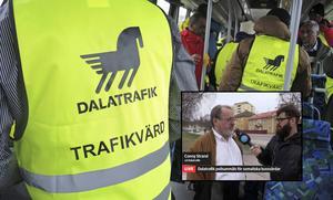 Dalatrafik ser de somaliska pensionärerna som bussvärdar och inte vakter, som det krävs tillstånd till. Men Länsstyrelsen har nu polisanmält vaktbolaget.