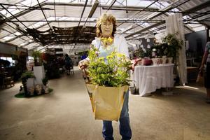 Stina Hågesen visar de nya blommorna hon köpt till sin trädgård. Stina satsar på solgult.