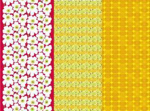 Även om Unikko är det kanske både Maija Isolas och Marimekkos mest kända tyg så finns det betydligt fler mönster som Maija är moder till. Längst till vänster syns Tansu som också det finns i mängder av färgställningar.