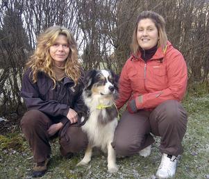 Matte, Anna Roos, hunden Trippex och hundvakten Emma Unger efter det lyckliga slutet.