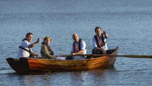 De fyras gäng.  Vilket EU är det David Cameron. Angela Merkel, Fredrik Reinfledt och Mark Rutte såg framför sig på Harpsund? Foto: Anders Wiklund TT