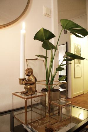 Catharina gillar inte färg, men guld har hon tagit in som komplement i den annars vita, svarta och grå lägenheten.