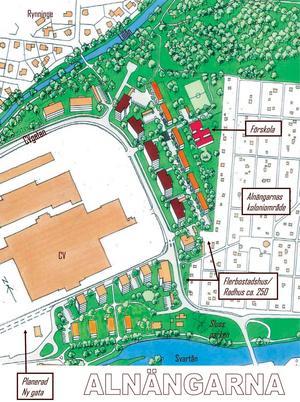 Mellan åarna. Bakom det så kallade CV-området (Centralverkstäderna) planerar man att bygga ett hytt bostadsområde.